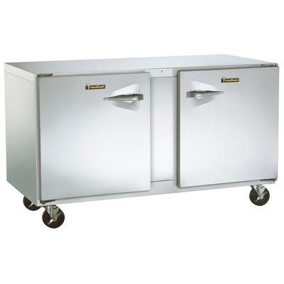 traulsen uht48lr-sb undercounter refrigerator hinged doors stainless steel back left side view