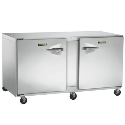 traulsen uht60lr undercounter refrigerator hinged doors stainless steel back left side view