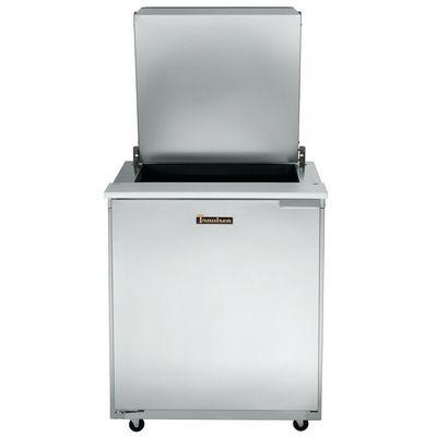 traulsen ust2706l compact sandwich prep table hinged flat top top door open