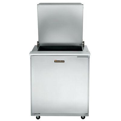 traulsen ust2706l-sb compact sandwich prep table hinged flat top top door open