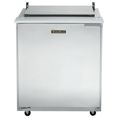 traulsen ust2706r-sb compact sandwich prep table hinged flat top door closed