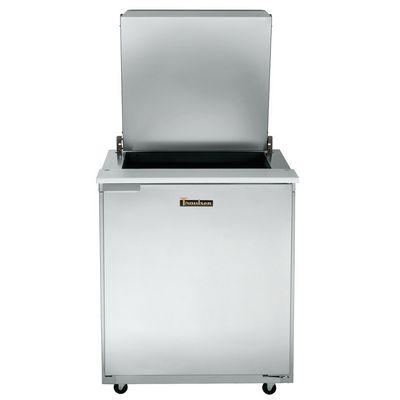 traulsen ust2709r-sb refrigerated sandwich prep table top door open