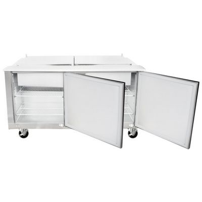 traulsen ust6024rr refrigerated sandwich prep table front door open