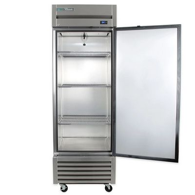 true t-23f solid reach in freezer door open
