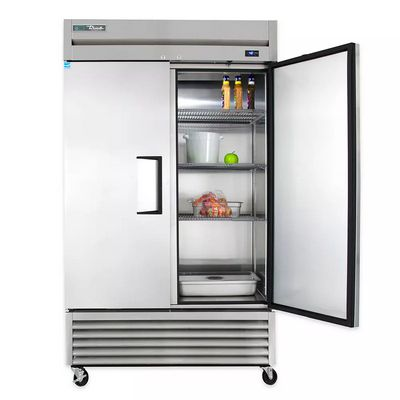 true t-43f solid reach in freezer door open