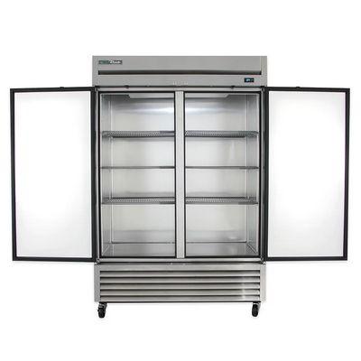 true t-49f solid reach in freezer door open