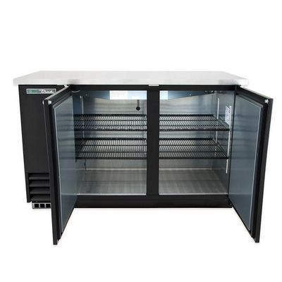 true tbb-2 back bar refrigerator solid door door open
