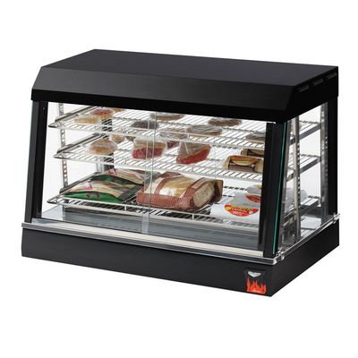 vollrath 40733 angled glass countertop heated display case filled