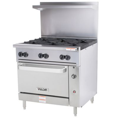 vulcan 36s-6bn commercial gas range with standard oven base righ side view