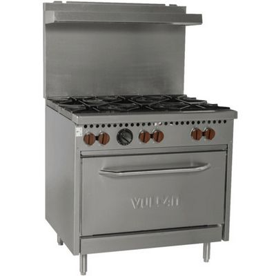 vulcan sx36-6bn commercial gas range with 6 open burner right side view