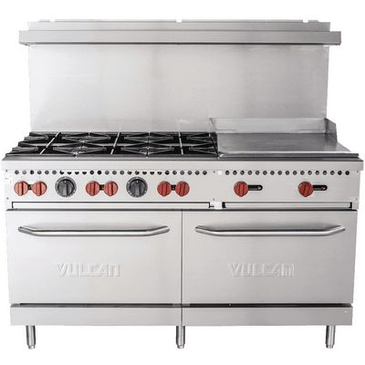 vulcan sx60f-6b24g commercial gas range with griddle front view