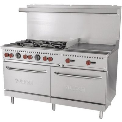 vulcan sx60f-6b24g commercial gas range with griddle right sdie view