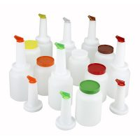 Winco PPB-2MX 2qt Liquor/Juice Pour Bottle Set With 2 of Each Color - 12pcs/cs
