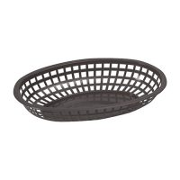 Winco POB-K Black Fast Food Oval Baskets - 1doz