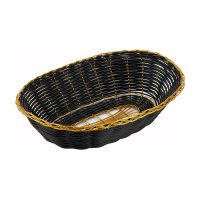 Winco PWBK-9V Black/Gold Poly Woven Oval Baskets - 1doz