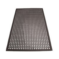 Winco RBM-35K Black Rubber Floor Mat with Beveled Edges - 35.75in