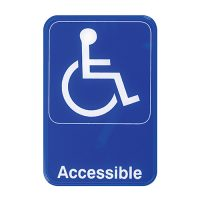 """Winco SGN-653B Blue Information Sign """"Accessible"""" - 6in x 9in"""