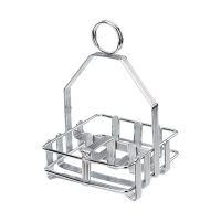 Winco WH-7 Chrome Plated Cruet Rack for Shaker & Packets - Salt/Pepper/Sugar