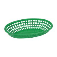 Winco POB-G Green Fast Food Oval Baskets - 1doz