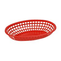 Winco POB-R Red Fast Food Oval Baskets - 1doz