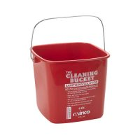 Winco PPL-6R Red Sanitizing Solution Cleaning Bucket - 6qt